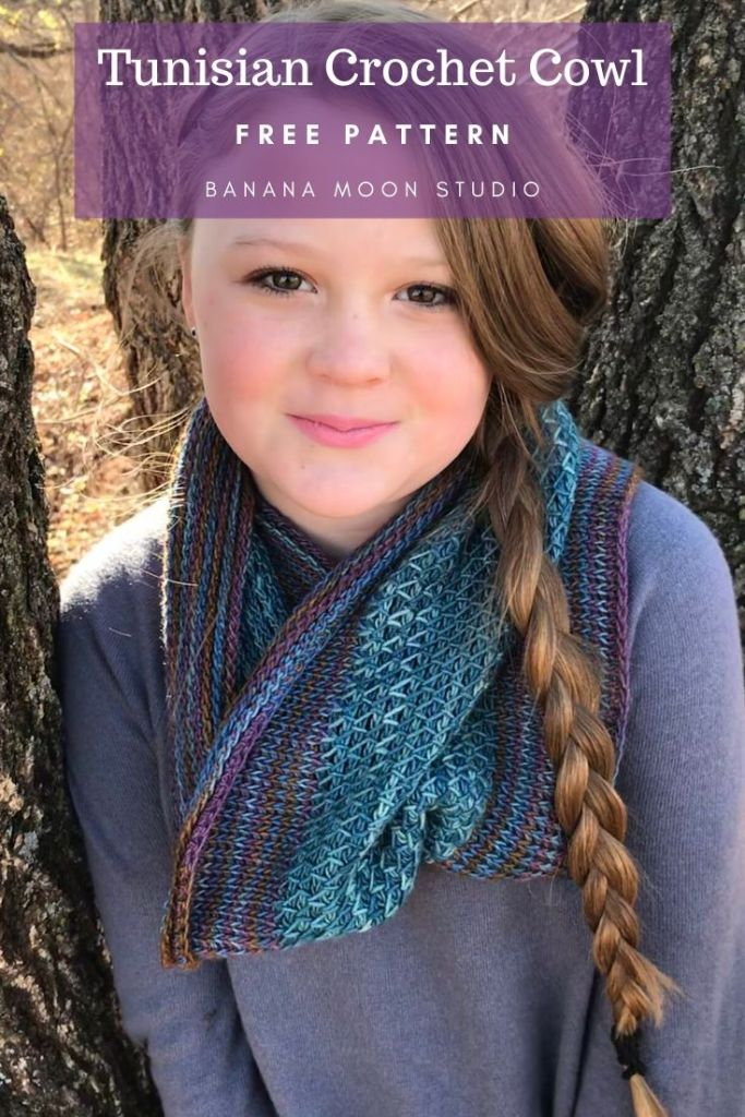 Tunisian crochet cowl, free pattern from Banana Moon Studio #tunisiancrochetpatternsfree