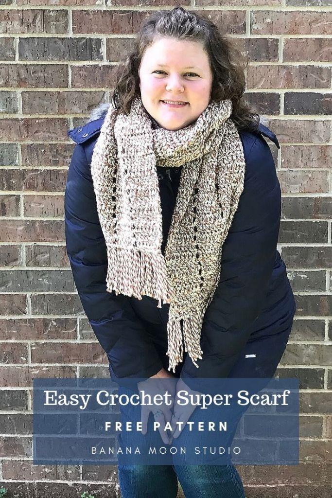 Easy crochet super scarf, free pattern from Banana Moon Studio! #easycrochetpatternsfree