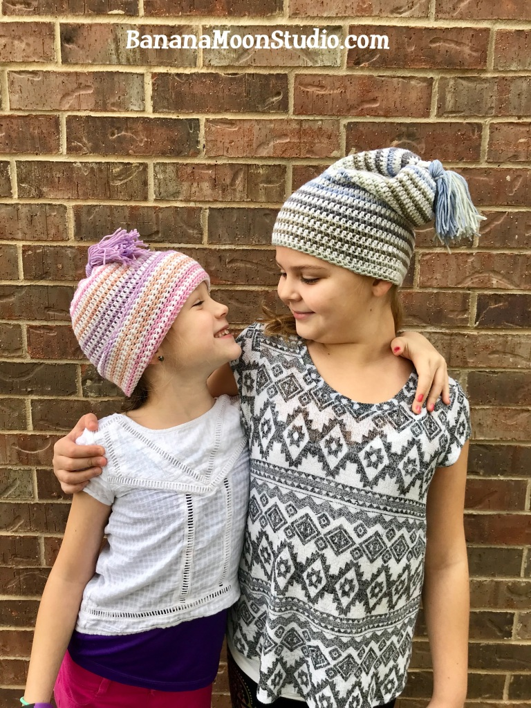 Free crochet pattern slouch hat with tassel from Banana Moon Studio