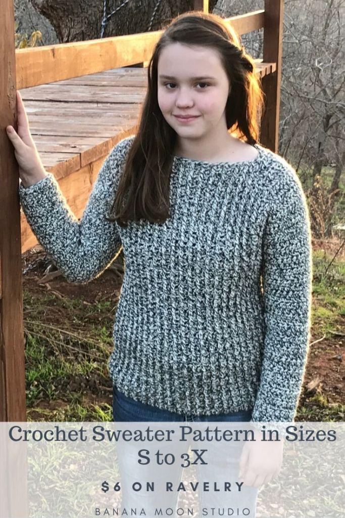 Women's crochet sweater pattern in bulky yarn, sizes S to 3X, from Banana Moon Studio! #womenscrochetsweaterpatterns