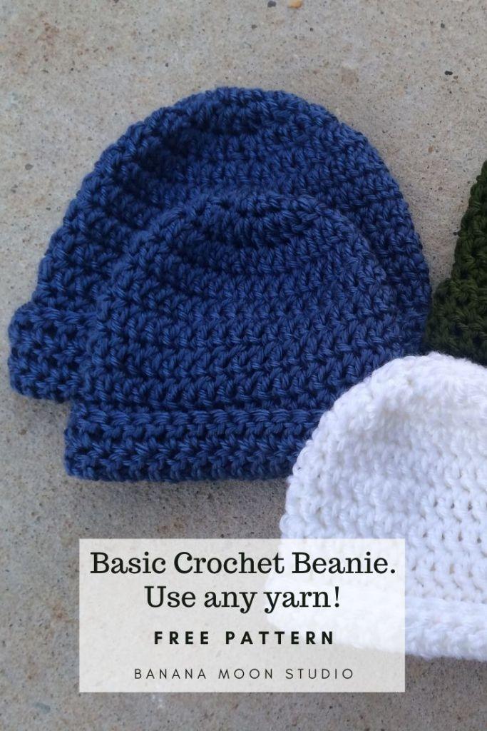 Basic beanie crochet pattern from Banana Moon Studio. Use any yarn!