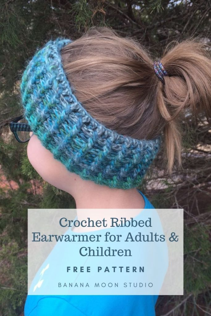 Crochet ribbed earwarmer for adults and children, free pattern from Banana Moon Studio