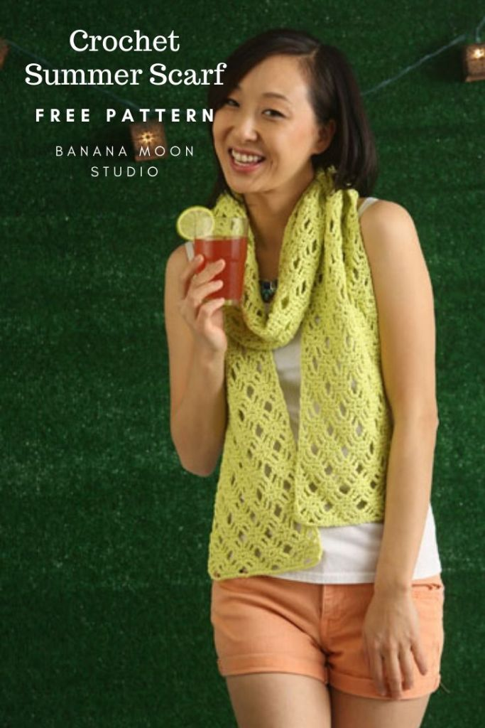Crochet summer lace scarf free pattern from Banana Moon Studio and I Like Crochet