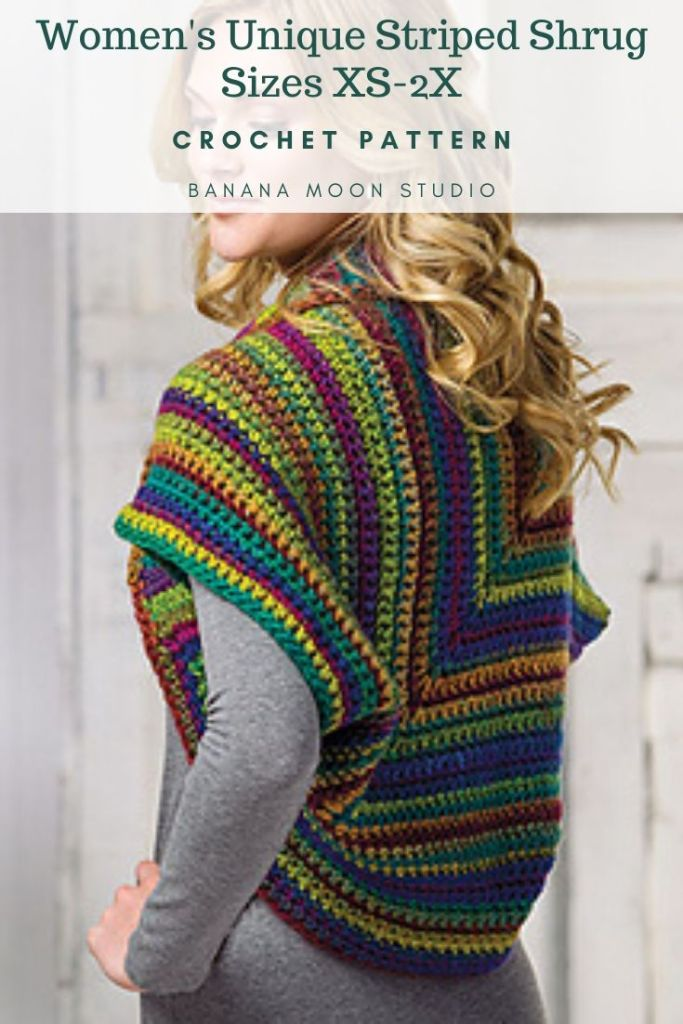 Woman in a striped crochet shrug cardigan