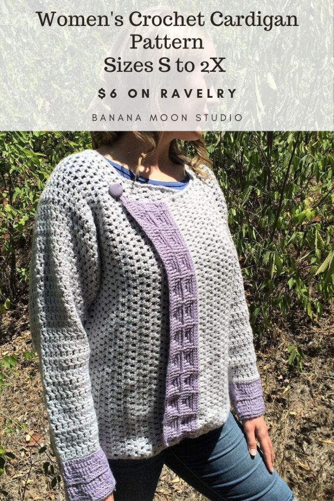 Women's crochet cardigan pattern in sizes S to 2X from Banana Moon Studio