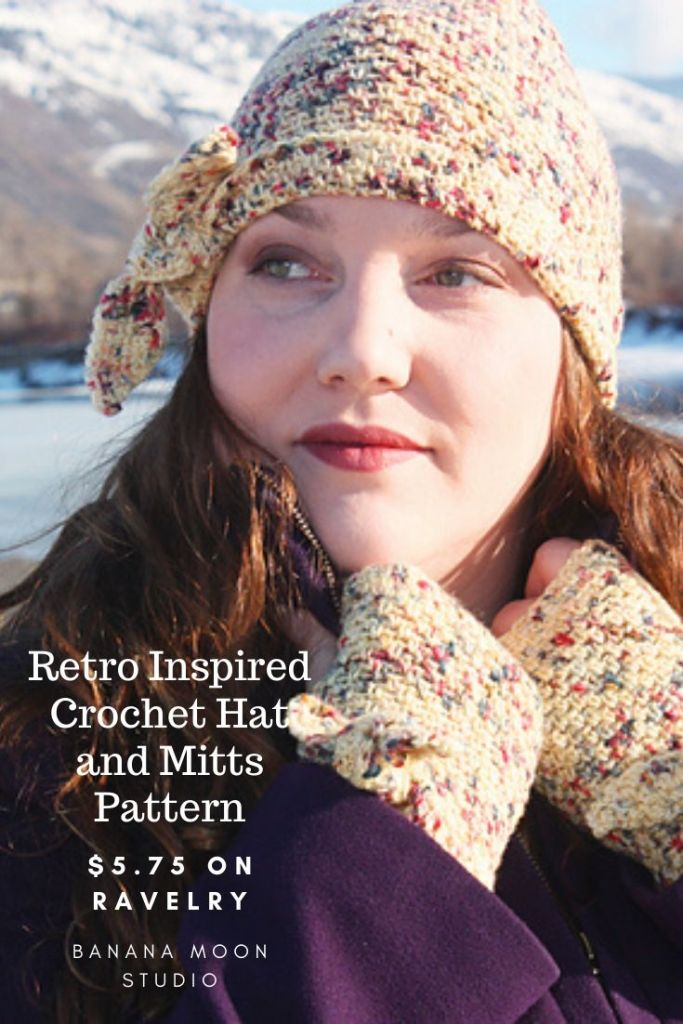 Retro-inspired crochet hat and mitts pattern from Banana Moon Studio and Ancient Arts