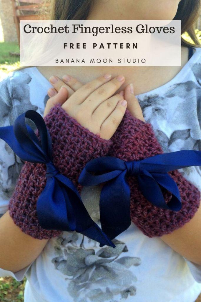 Crochet fingerless gloves free pattern from Banana Moon Studio