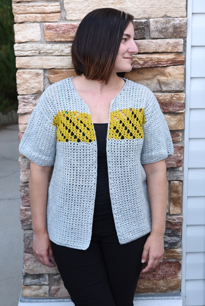 Jessamine Cardigan, crochet pattern in v-st with accent lace panel. Pattern from Banana Moon Studio and Ancient Arts