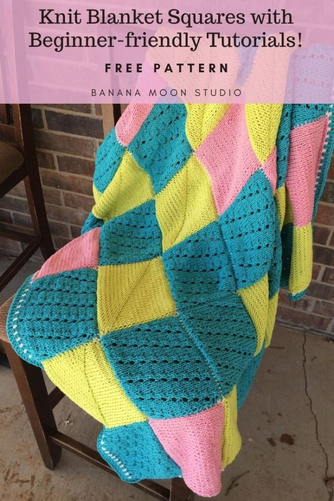 Knit blanket square patterns with beginner-friendly tutorials from Banana Moon Studio