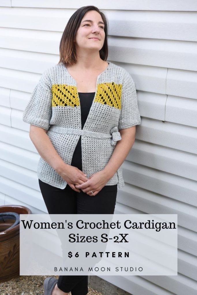 Women's crochet cardigan pattern in sizes S-2X from Banana Moon Studio and Ancient Arts Yarns.