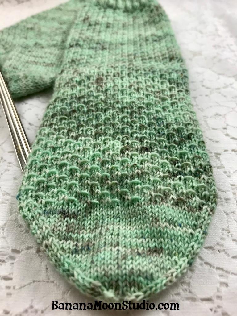 Free sock knitting pattern with free video tutorials from Banana Moon Studio.