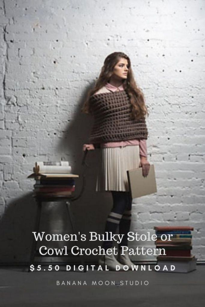 Women's chunky stole or cowl crochet pattern from Banana Moon Studio and Interweave Crochet