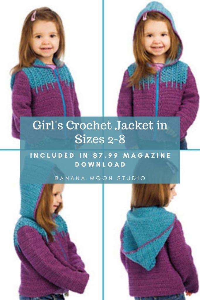 Crochet girls cardigan in sizes 2-8 from Banana Moon Studio and Crochet! magazine.
