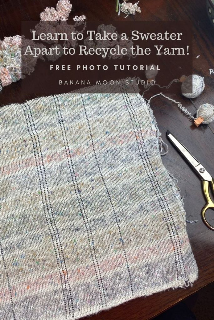 Learn to take a sweater apart to recycle the yarn! Photo tutorial from Banana Moon Studio.
