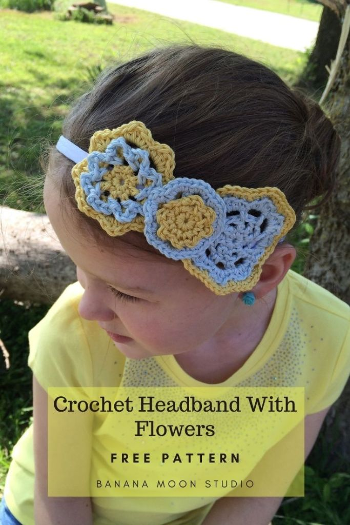 Crochet headband flowers patterns free from Banana Moon Studio