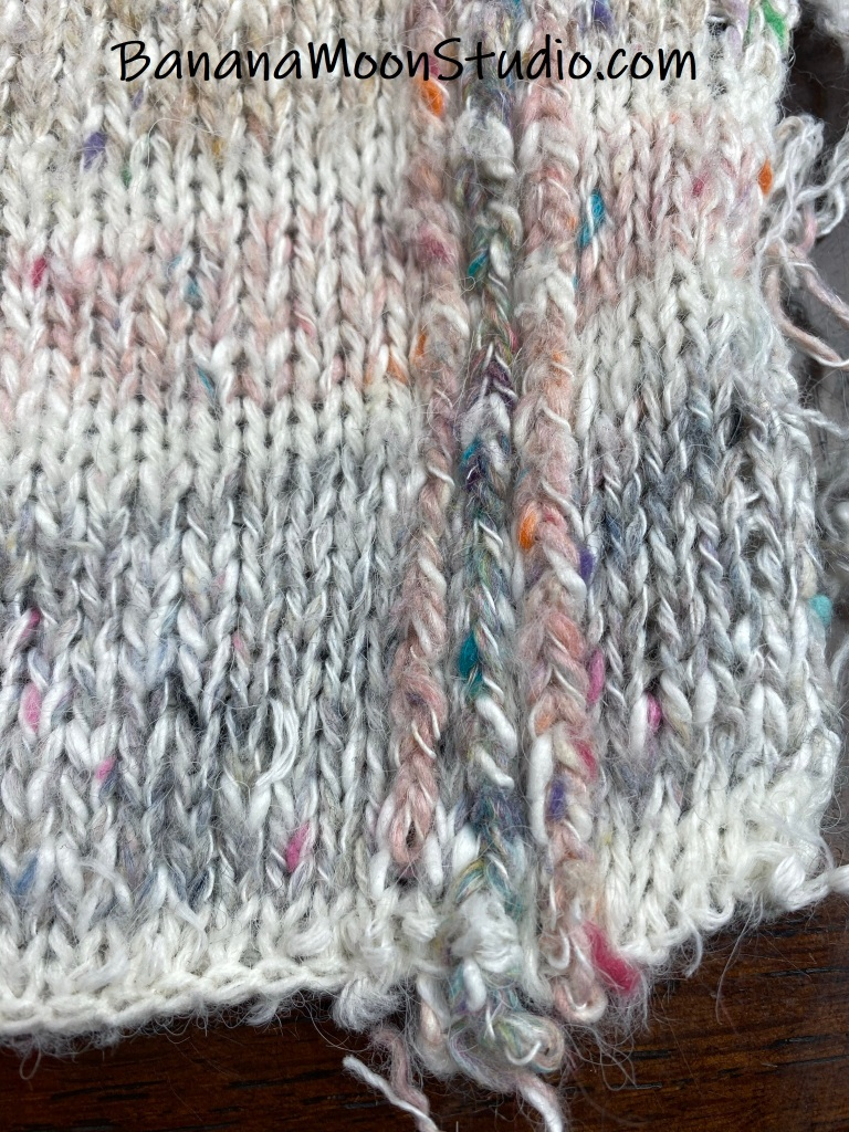 Get yarn from thrift store sweaters by unraveling them. Photo tutorial from Banana Moon Studio.