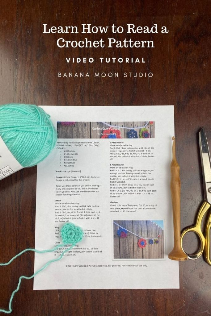 Learn how to read a crochet pattern with this free video tutorial from Banana Moon Studio!