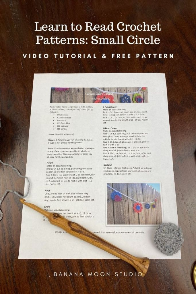 Learn to read crochet patterns step by step with Banana Moon Studio!