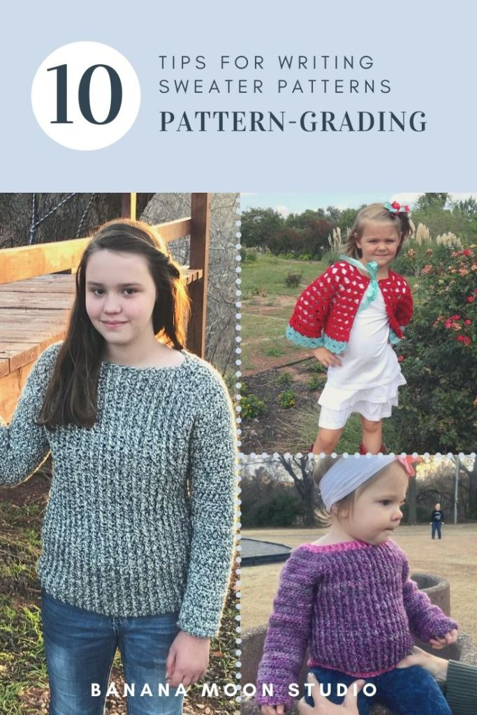 Learn pattern grading for crochet and knitting pattern writing with Banana Moon Studio.