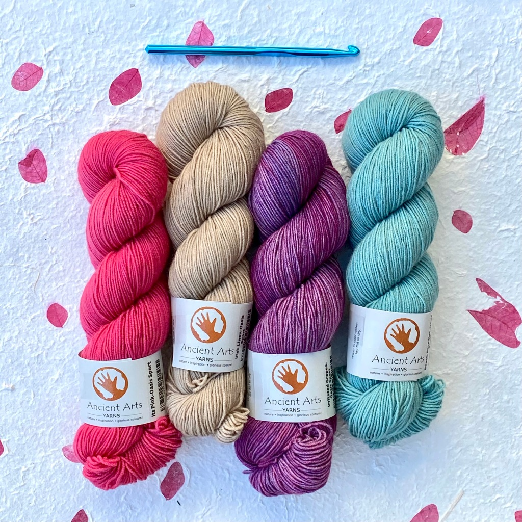 It's Pink, Irish Linen, Irritated Grapes, and Beach Paradise on Ancient Arts Yarn Oasis.