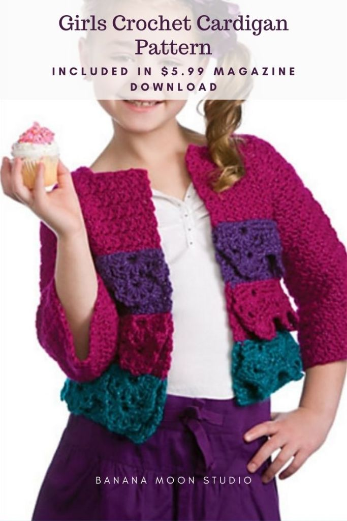 Girls Crochet Cardigan Pattern Included in $5.99 magazine download from Banana Moon Studio and Crochet World magazine. Girl with side ponytail wearing a crochet jacket with ruffles and 3/4 sleeves. The jacket is sparkly pink, purple, and teal. White t-shirt and purple skirt.