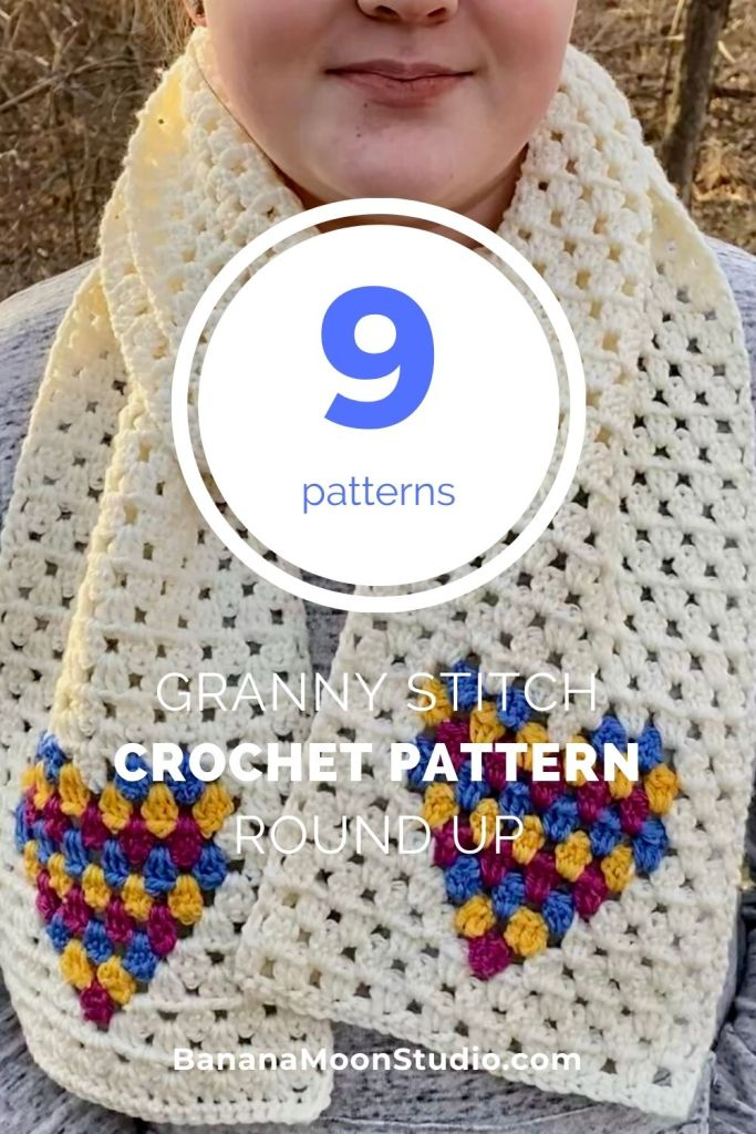 Nine patterns. Granny stitch crochet pattern round up from Banana Moon Studio. Girl wearing granny stitch crochet scarf with colorwork hearts at each end.