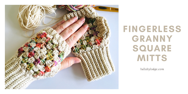 Fingerless granny square mitts. lullabylodge.com. Fingerless mitts made of small granny squares that alternate buff with a variegate. Ribbed cuff, top edging, and thumbhole.